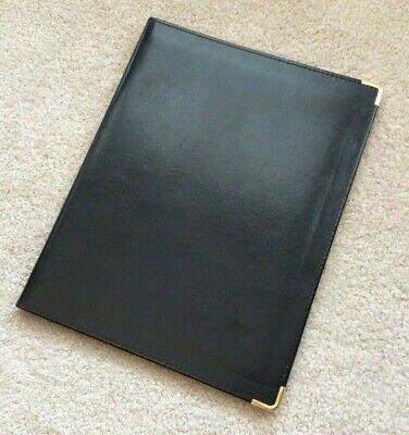 Vtg Hazel Blk Faux Leather Writing Note Pad Folio Portfolio Cover Folder Holder