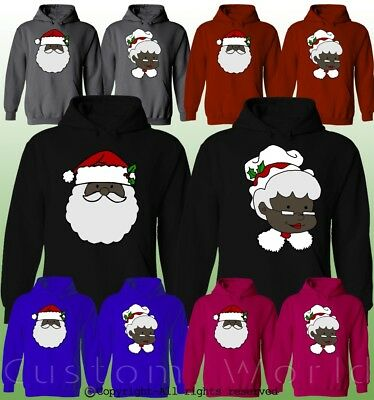 Black Santa Claus Matching Pullover Hoodies Love Xmas (Mrs Claus Pullover)