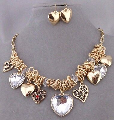Chunky Heart Necklace Set Gold Crystal Red Rhinestone Fashion Jewelry NEW