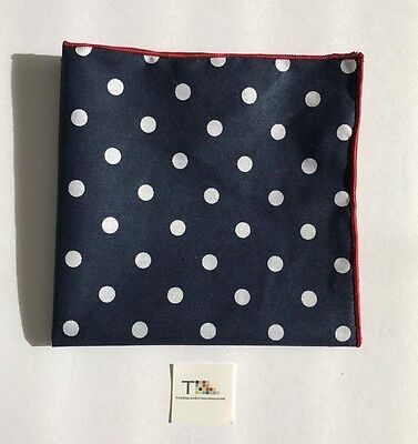 Navy Blue And White Polka Dot Pocket Square with Red Trim