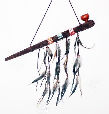 Indianische Friedenspfeife 70cm schöne Indianer Pfeife mit Federn geschmückt