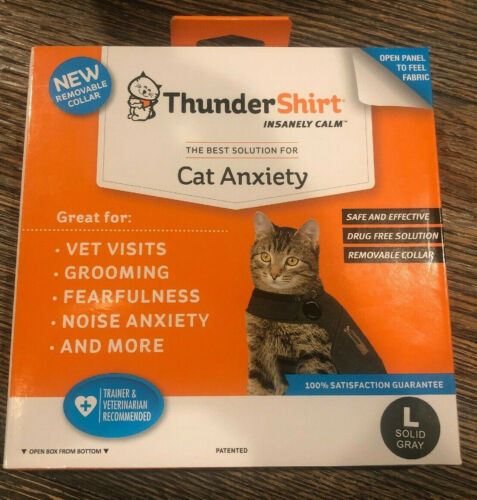 Thundershirt Large Heather Grey Cat For Large Cats New in Box Calming Wrap Coat