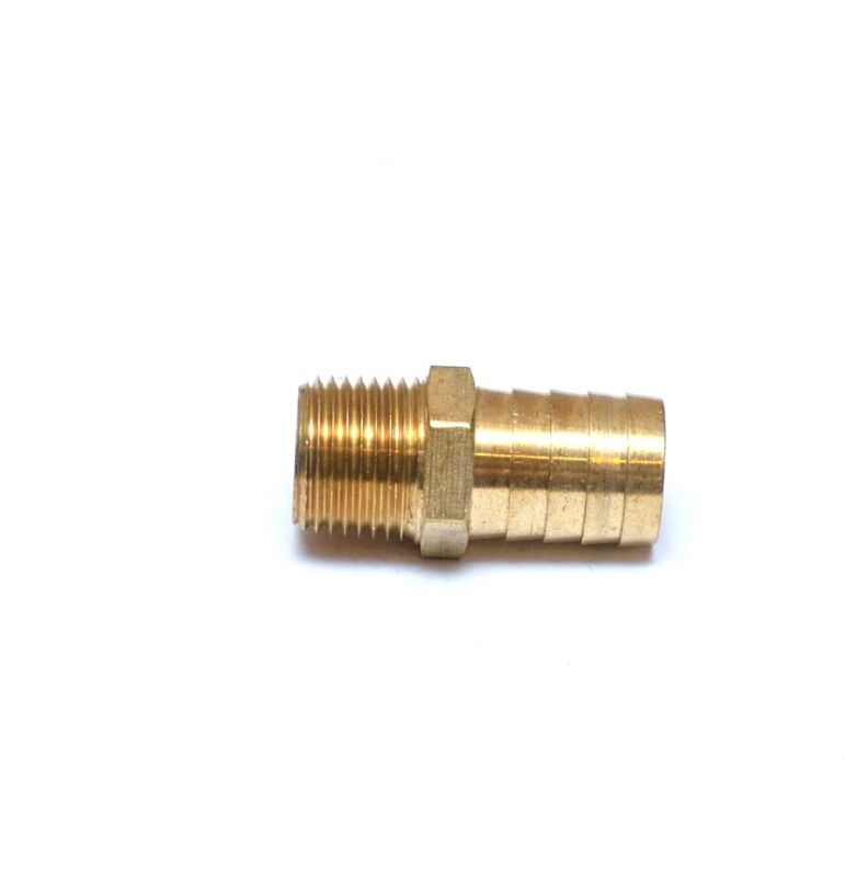 Straight 3/4 Hose ID Barb 1/2 NPT Male Brass Fitting Air Fuel Water Oil Gas