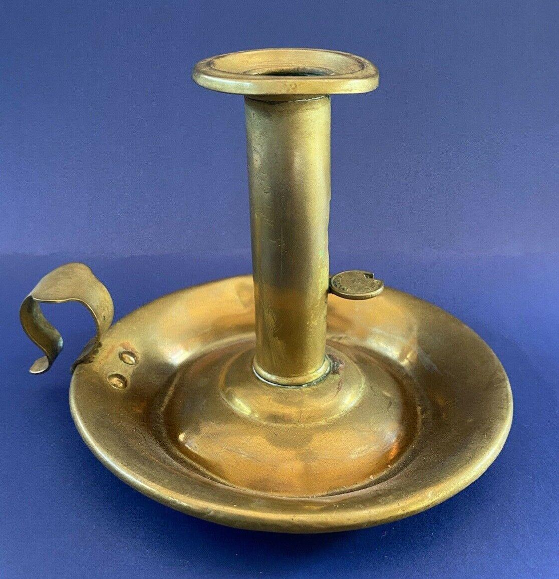 Antique Brass Pushup Chamberstick Candlestick - $45.00