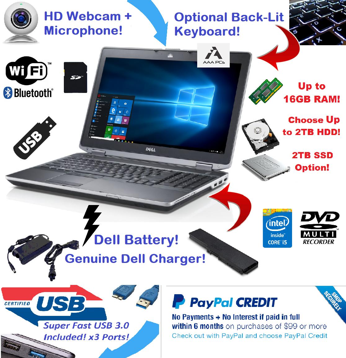 "Laptop Windows - Dell Latitude Laptop 15.6"" Intel i5 2TB SSD 🚩16GB RAM 🎮 WiFI HDMI + Win10 Pro"