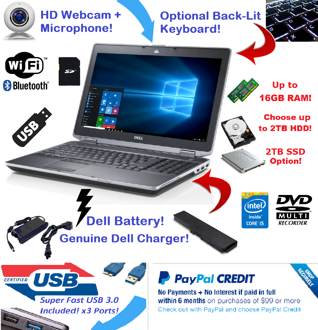 "Laptop Windows - Dell Latitude Laptop 15.6"" Intel i5 2TB SSD 🚩16GB RAM 🎮 WiFI HDMI + Win 10 Pro"