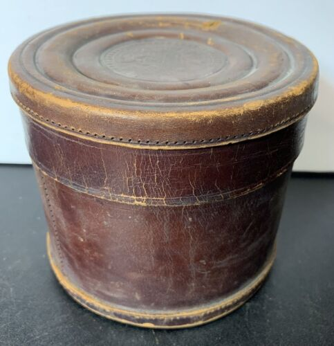 """Antique English Coat of Arms Leather Clad Collar Box 4.5"""" Tall 5"""" Dia Distressed"""