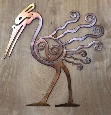 Tribal Bird Patina Finish Metal Wall Art Hanging