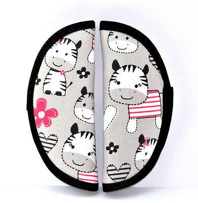 1Paar Gurtpolster Zebra Baumwollstoff für Maxi Cosi,Römer,Babyschale Neu