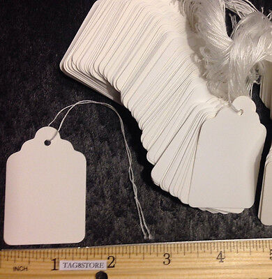 1000 White 7 Large Price Merchandise Tags Blank W String Strung Retail Store L