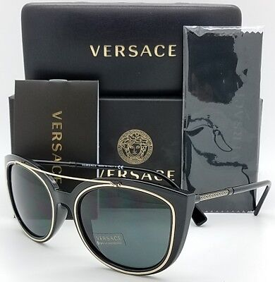 7b1a3a40045db New Versace sunglasses VE4336 GB1 87 Black Grey Medusa 4336 Butterfly  AUTHENTIC