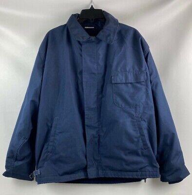 Vintage 1990 USN US Navy Cold Weather A-2 Aramid Deck Jacket Blue Size Large