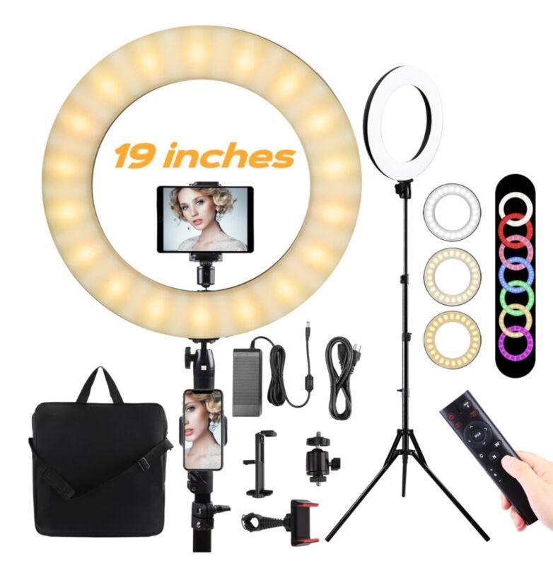 Ring Light w/ Remote Controller, Morpilot 19 inch LED Selfie Ring Lights, Colors