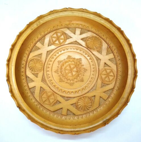 """Vintage Hand-Carved Wooden Plate Tray Mold Geometric Former Yugoslavia 1970s 10"""""""