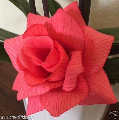 PINK SALMON FLOWER HAIR CLIP FOR MEXICAN FIESTA,5 DE MAYO,DAY OF THE DEAD - Fiesta Hair