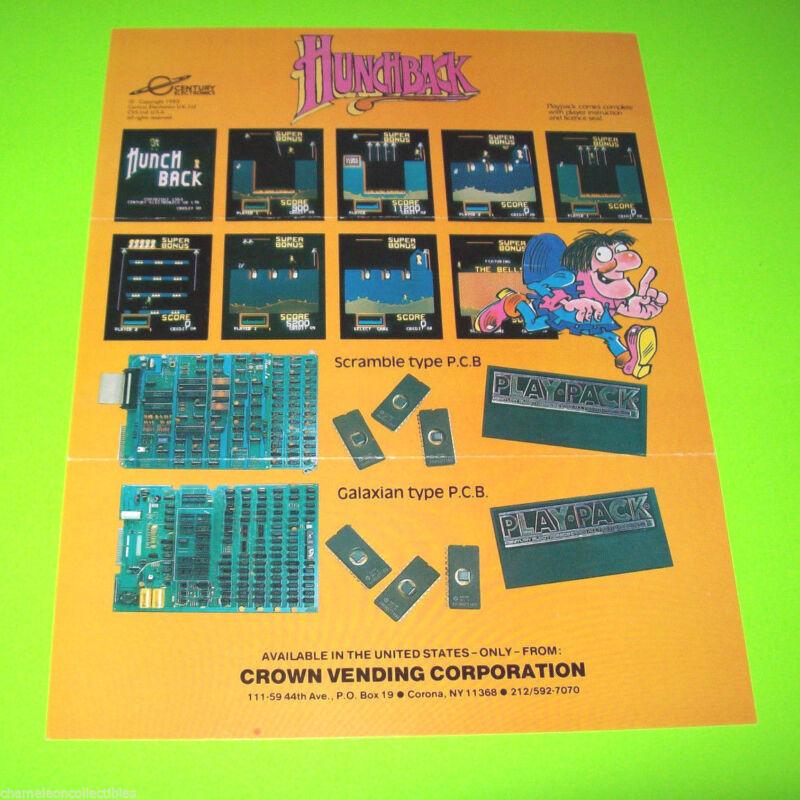 HUNCHBACK By CENTURY ELECTRONICS 1983 ORIGINAL RETRO VIDEO ARCADE GAME FLYER