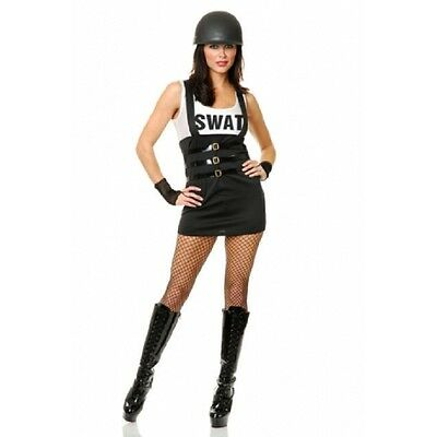 SEXY BLACK & WHITE SWAT TEAM DRESS WITH GLOVES ADULT HALLOWEEN COSTUME SIZE - Swat Team Halloween Costume Women