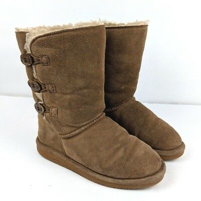Kids Leather BEARPAW Lauren Boots Brown 5 Cow Suede Wool Youth Hickory ()