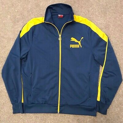 RARE TRUE VINTAGE PUMA RETRO TRACK TOP JACKET BLUE / YELLOW XL