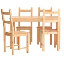 Bargain solid pine wood dining set - table and 3 chairs IKEA Bankstown Bankstown Area Preview
