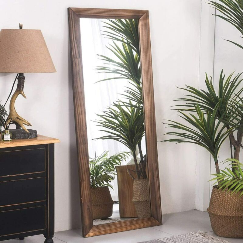 """Chic 63"""" Full Length Mirror Rustic Wood Frame Floor Large Wall Mirror Brown/Gray"""