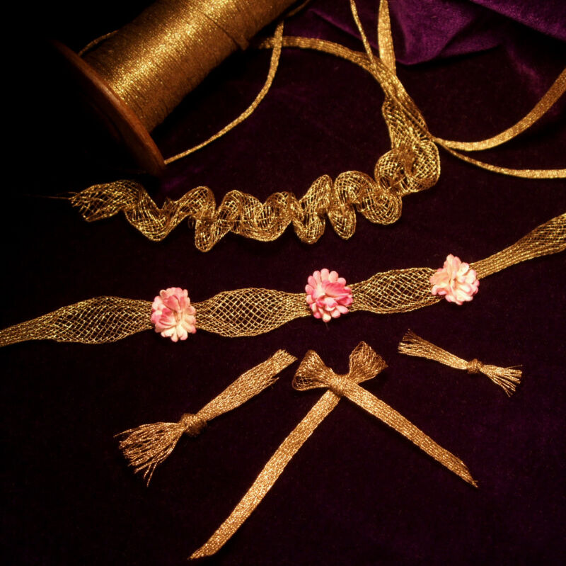 Antique vintage French Gold METAL Mesh Trim for rococo ruching ribbon work 1/8""