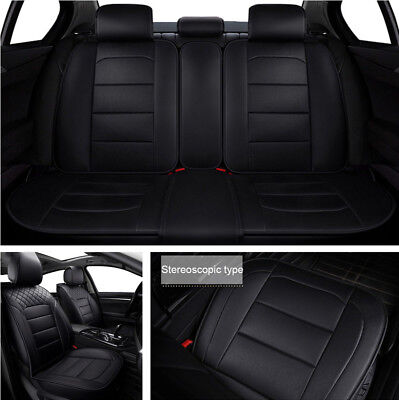 5-Seats Car Seat Cover PU Leather Front & Rear Full Interior Set Easy to