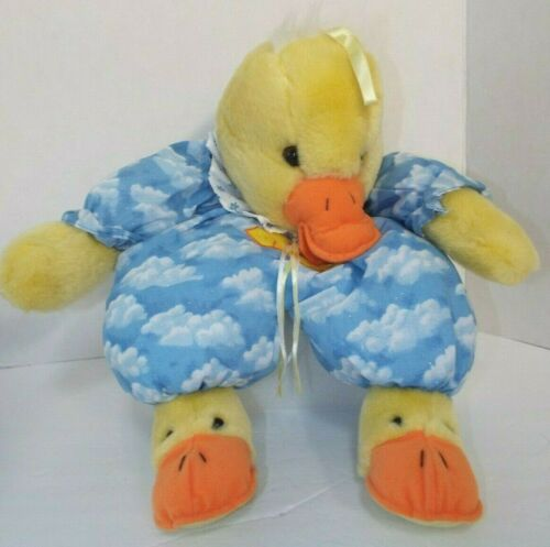 """Cuddle Wit Hanging Yellow Duck Plush With Pocket In Back 23"""" Embroidered"""