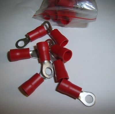 """25 Wire Ring Terminals Red 8 Ga Gauge 1/4"""" Connectors Car Amp Install Power"""