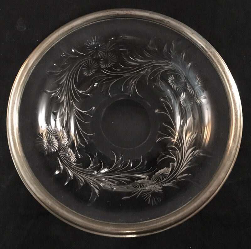 ANTIQUE PAIRPOINT STERLING RIMMED WHEEL CUT GLASS BOWL