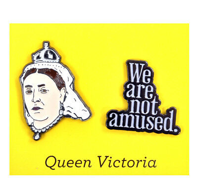 Queen Victoria & We Are Not Amused Twin Pin Set - Badge / Pin / Lapel Pin