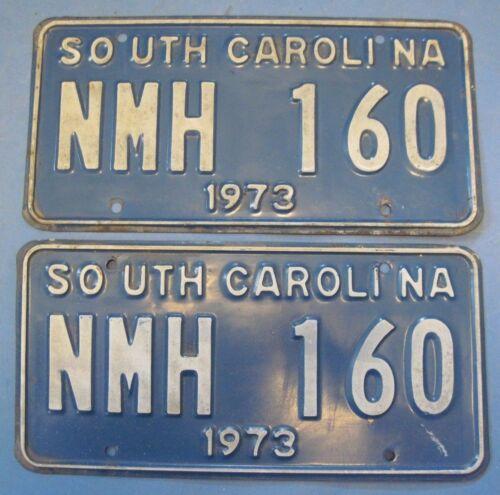 1973 South Carolina license plates matched pair