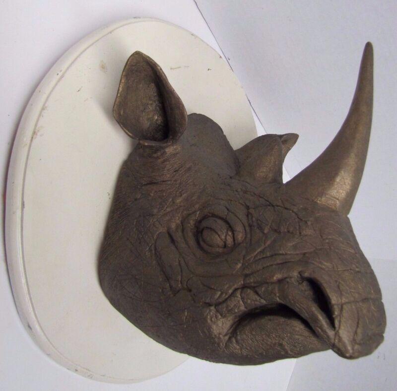 RHINO HEAD Mount Vintage Composition Figural Faux Rhinoceros Faux Taxidermy