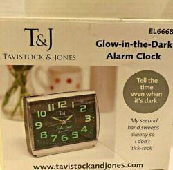 T&J Glow in the Dark Alarm Clock Second Hand Silent Sound Big Numbers Quartz