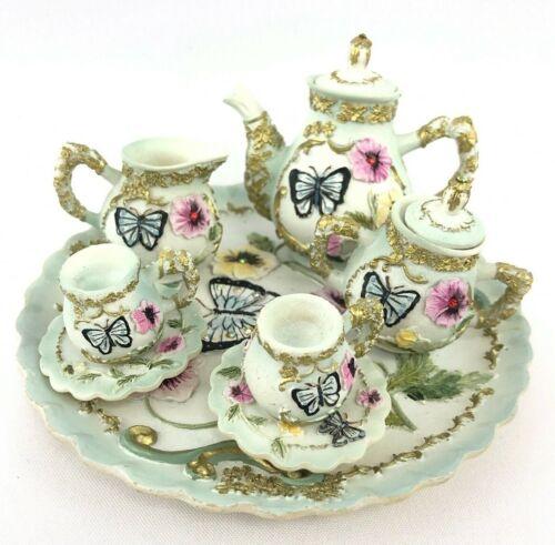 Mini Resin Butterfly Garden Tea Set