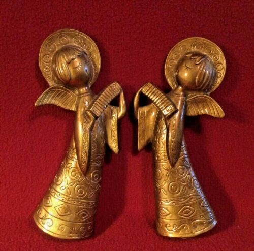 """Vtg. Paper Maché Gold Christmas Angels stand alone or hang approx. 8.5"""""""