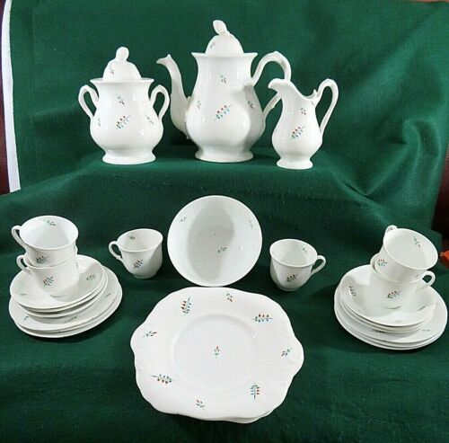 Antique 1840 Staffordshire Hard Paste Porcelain Sprig Tea Set 24 Pieces