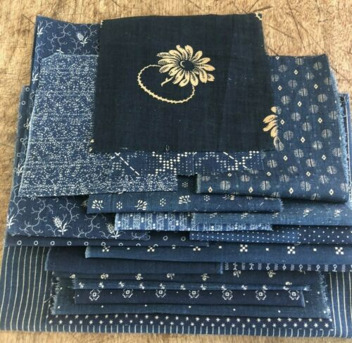 19 Vintage Antique Pieces Blue Indigo Cotton Fabric 1800