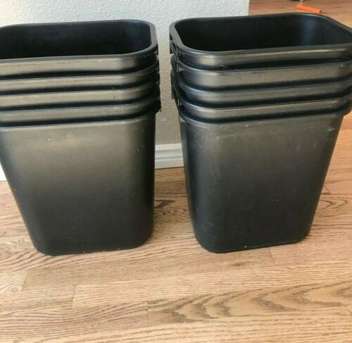 Lot of 10 Rubbermaid 7 gallon/28 quart black office trash can wastebasket
