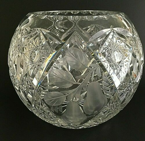 "Cut Glass Rose Bowl Pears Leaves Criss-Cross 8 1/8"" Wide 6 1/2"" Tall"