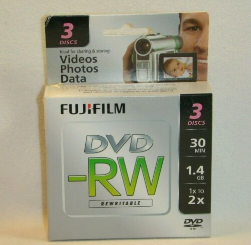 FujiFilm Mini DVD-RW 80mm 3-Pack 30 mins 1.4GB 1x 2x Brand New