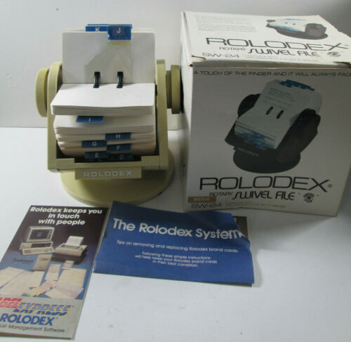 Vintage 1980s Rolodex Rotary Card File Faux Wood Grain Swivel Base SW-24 USA