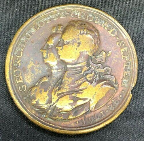 1761 George III & Charlotte Brass Coronation Medal