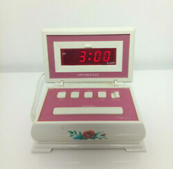 Vtg Spartus Digital Alarm Clock Jewerly Box Style White Floral Pink Inside 1990s
