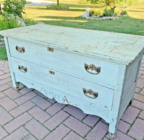 Vintage Wood Wooden 2 Drawer Low Chest Dresser