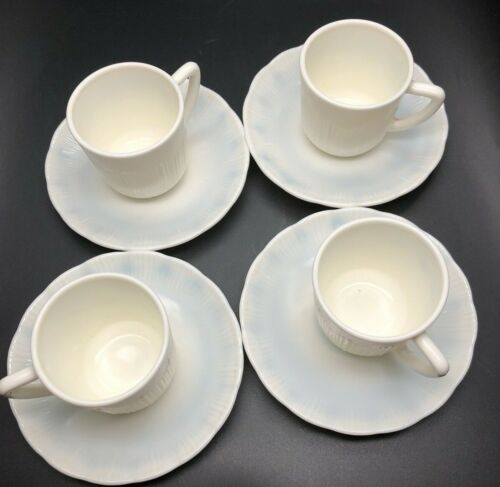 MacBeth-Evans Cremax Bordette Monax White & Demitasse Cups Saucers 4 Sets