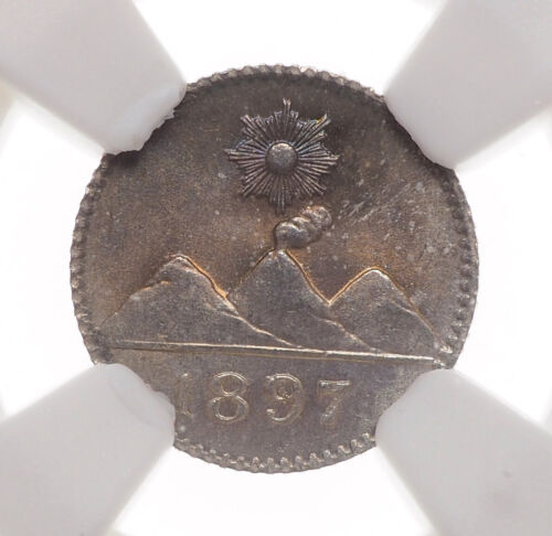 GUATEMALA. 1897, Silver 1/4 Real, Gem BU - NGC MS66 - $53.22