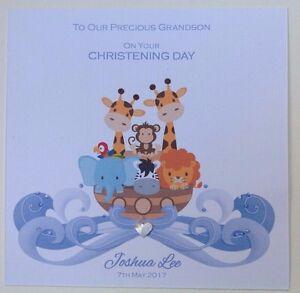 PERSONALISED Handmade CHRISTENING BAPTISM Card SON GRANDSON NEPHEW Noahs Ark