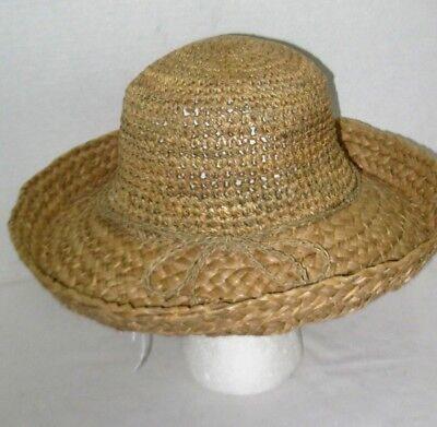- Straw Crochet Crown Sewn Braid Wide Brim Sun Hat Bucket Beach Cap w/Raffia Bow