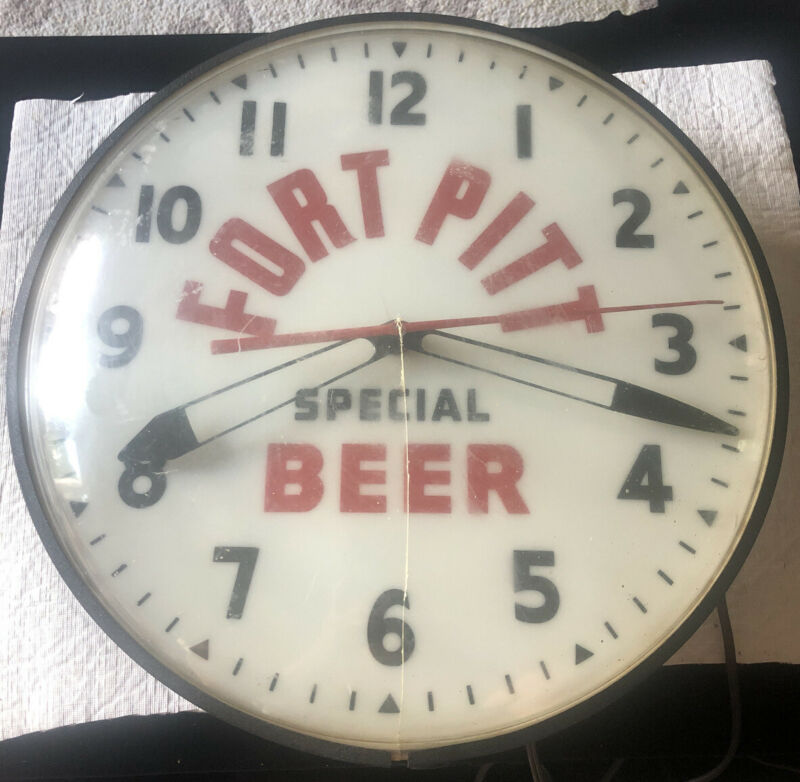 Vintage FORT PITT SPECIAL BEER Pittsburgh Brewing Electric Clock Runs Lights